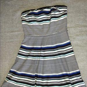 WHBM strapless striped silk dress